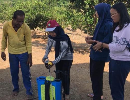 Mahasiswa Kukerta Unri di Pongkai Istiqomah Kampar Miliki Program Pembuatan Pupuk