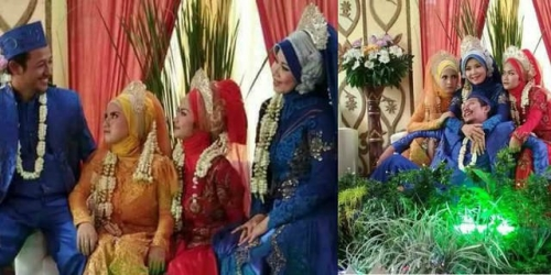 Beredar Foto Pria Cirebon Nikahi 3 Wanita Sekaligus, Begini Cerita Sebenarnya