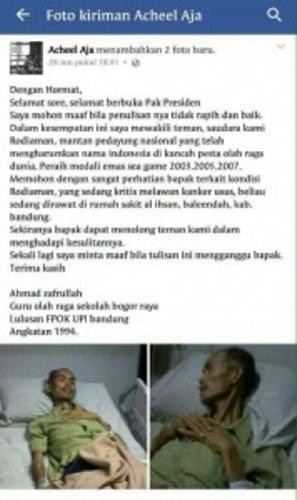 Kasihan, Peraih Emas pada SEA Games 2003, 2005 dan 2007 Itu Kini Kondisinya Kritis karena Kanker, Jokowi Diminta Membantu