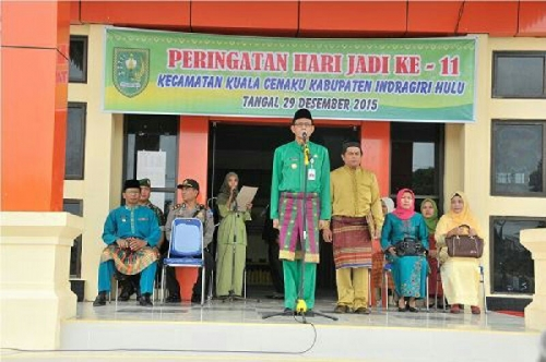 Peringatan HUT ke 11 Kecamatan Kuala Cenaku Meriah, Pj Bupati: Hentikan Alih Fungsi Lahan Pertanian