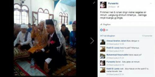 Mengharukan, Mahar Pernikahan Ini Hanya Segelas Air Putih