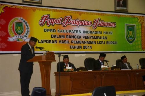 Gelar Paripurna, Pansus I DPRD Sampaikan Hasil Pembahasan LKPj Bupati Inhil Tahun 2014